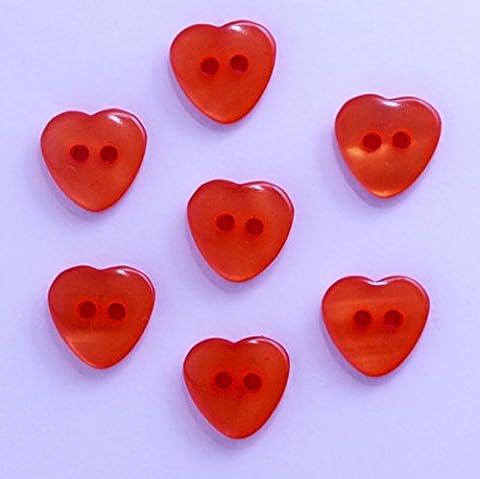 Boutons Coeur 12mm 2 Trous - Lot de 10 - Orange