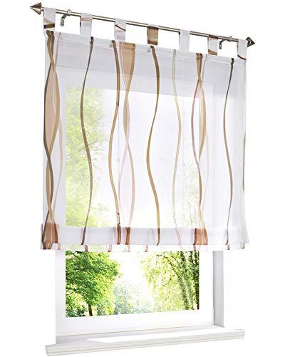 BAILEY JO Voile Raffrollo mit Wellen Druck Design Rollos Schlaufen Transparent Vorhang (BxH 140x140cm, Sand)