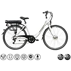 """F.lli Schiano E-Moon Vélo électrique Unisex-Adult, Blanc, 28"""""""