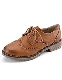 Zapatos de Mujer Oxford Nueva Moda británica Viento Cordones Pisos Zapatos