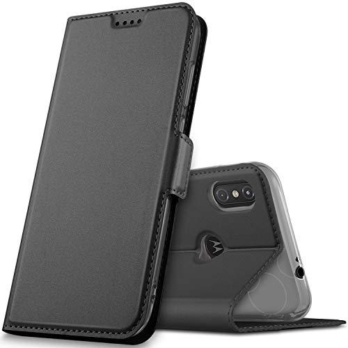 GeeMai Motorola One Hülle, Moto one Hülle, Motorola One Leder Hülle Flip Case Wallet Stylish mit Standfunktion und Magnetisch Ledertasche Schutzhülle handyhüllen für Motorola One Smartphone, Schwarz