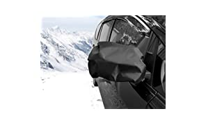Kinder Fluff Side View Mirror Cover – Frost, Snow, Ice, Guard & Water Proof – Pack of 2 (210T - 15x16 inch), Black – Car, Truck, Van & Bus Exterior Rear Mirrors Protector - Fit All Vehicles Side