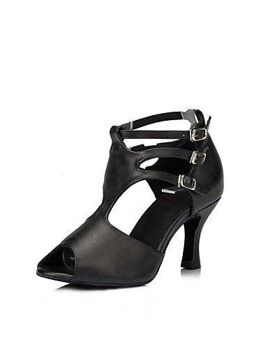 ShangYi Chaussures de danse ( Noir / Multicolore / Léopard ) - Personnalisables - Talon Personnalisé - Satin / Similicuir - Latine / Salsa / Samba black and white