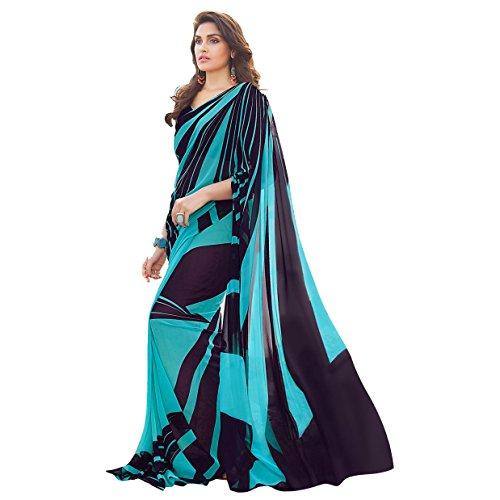 Craftsvilla Women's Georgette printed Designer Blue saree with blouse piece