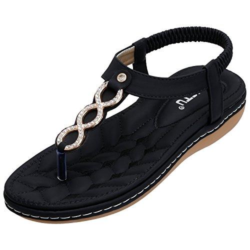 SANMIO Damen Sandals, Frauen Sandalen Sommer Bohemian Strass Flach Sandaletten PU Leder Zehentrenner Schwarz 36 (Sandalen Damen Flache)