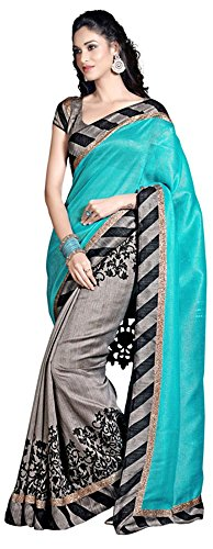 Lizel Fashion Women's Cotton Silk Saree (Grey)