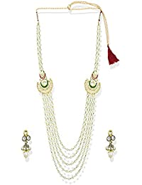 Zaveri Pearls Jewellery Set For Women (Gold And White) (ZPFK5238)