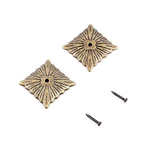 Akozon Antik Dekor Nägel,100 stück Vintage Bronze Polsterung Nägel Bronze Metall Tags DIY Dekorative Möbel Ziernägel Möbel Sofa Schuh Tür Dekorative Tack Stud set(K247 Square Stud 21) (Square-eisen-wand-dekor)