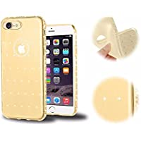 Bling Bling iPhone 8 Hülle, MingKun Dünnen TPU Silikon Handyhülle für iPhone 7 / iPhone 8 Schutzhülle Diamant Transparent Crystal Case Cover Handy Protektiv Tasche Schale - Diamond Gold
