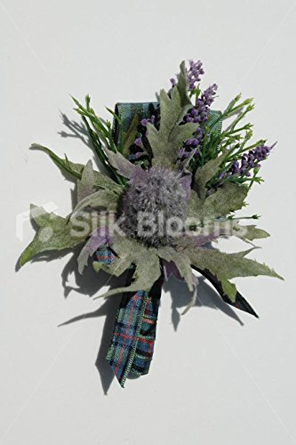 Silk Blooms Ltd Kunstblumen, Schottische Distel/Erika, für Knopfloch, Lila