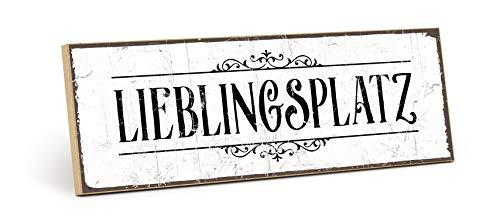 TypeStoff Holzschild mit Spruch - LIEBLINGSPLATZ - Grafik-Bild schwarz-weiß, Schild, Wandschild, Türschild, Holztafel, Holzbild als Geschenk und Dekoration (9,5 x 28,2 cm)