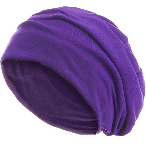 style3 Slouch Beanie aus atmungsaktivem, feinem und leichten Jersey Unisex Mütze Haube Bini Einheitsgröße, Farbe:Lila