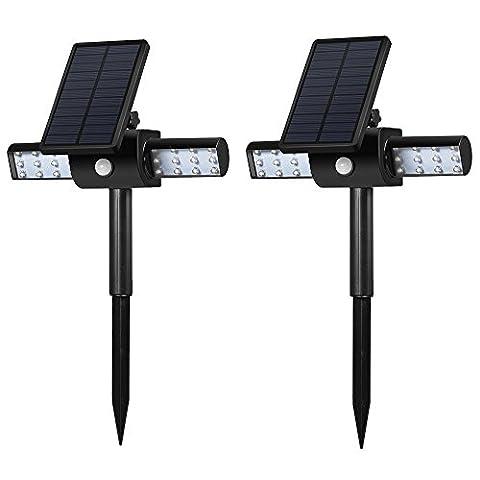 GrandBeing® Solar led licht garten beleuchtung soalr spotlight Außen Rampenlicht 24 led solar betriebene garten (Luce Solare Del Giardino Pacchetto)