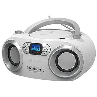 OUTMARK BAIO TRAGBARER CD-Radio-Bluetooth-Player | USB | AUX-IN | MP3 | Fernbedienung | LCD-Display Blaue Beleuchtung | FM-Radio | KOPFHÖRERANSCHLUSS | 2 x 1,5W RMS | Boombox | (White)