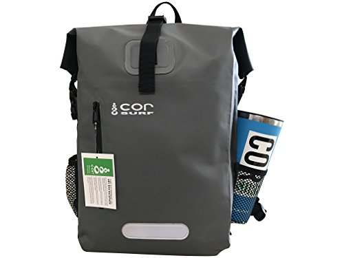 COR 25L Wasserfester Rucksack mit gepolsterter Laptoptasche, 25 Liter (Grün und Grau) (Große Vinyl-laptop-tasche)