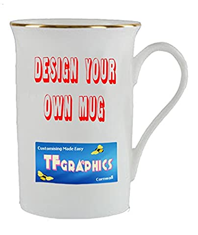 Design Your Own Custom Gold Rim Bone China Mug - Personalised with your Design