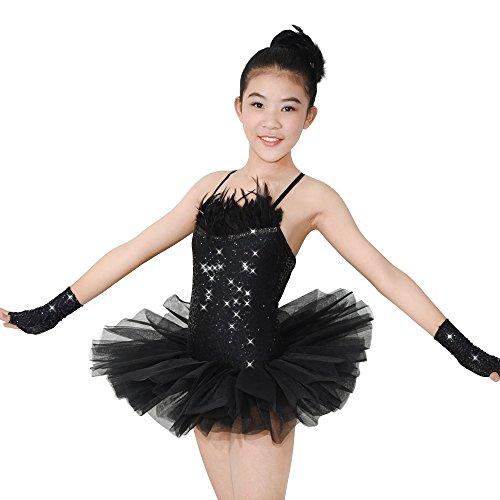 MiDee 2 Stücke Hemdchen, Oder So Was Paillettenbesetzte Feder Ballett - Tutu Kleid Tanzen Kostüme (Schwarz, SC) (Kleidung Formelle Teen)