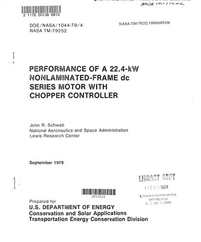 Performance of 22.4-kW nonlaminated-frame dc series motor with chopper controller. [a dc to dc voltage converter] (English Edition)