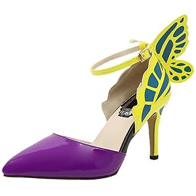 HooH Damen Pumps Spitz Zehe D'Orsay Schmetterling Ankle Strap High Heels Gelb 39 EU oDbirrvj19