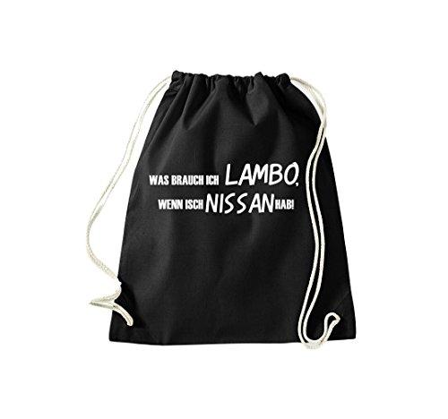Was brauch ich LAMBO wenn isch NISSAN hab Gymsack Kultsack schwarz ()