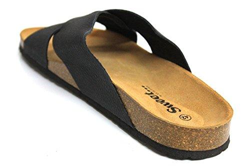 Sweet Ibiza Eco Cross sangle en cuir pour homme Summer Beach Sandales Taille UK 7–12 Noir - noir
