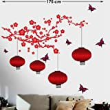 DECOR Kafe Home Decor Red Branches & Flowers Wall Sticker, Wall Sticker For Bedroom, Wall Art, Wall Poster (PVC Vinyl, 172 X 68 CM)