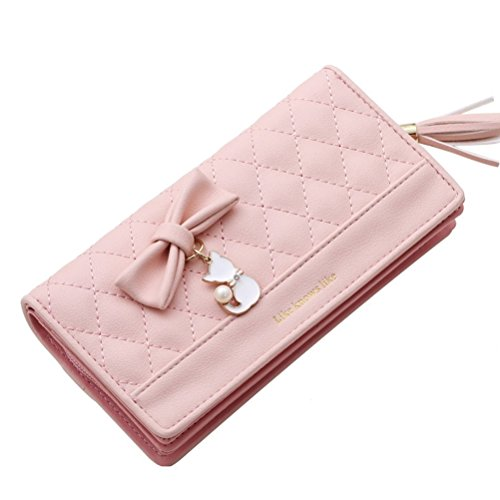 Portefeuille Long Embrayage Portefeuille étui En PU Cuir Portefeuille femme avec fermeture à glissière Sac à Main Femme - ROSE