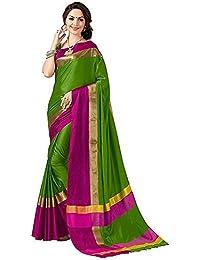Rensila Women's Cotton Silk Saree With Blouse Piece (RFGR_Shreeji Green SAREE_Green)