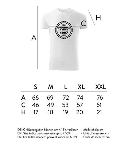 Herren Shirt Original seit 1987 schwarz & weiß Motiv - T-Shirt Poloshirt mit Motiv - Neu S - XXL Weiß
