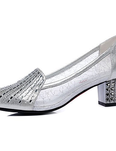 WSS 2016 Chaussures Femme-Bureau & Travail / Habillé / Soirée & Evénement-Noir / Argent-Talon Bas-Talons / Confort-Talons-Synthétique black-us8 / eu39 / uk6 / cn39