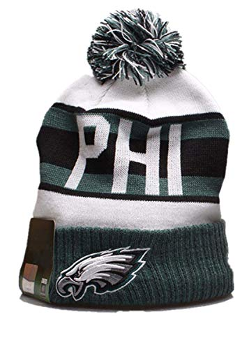 NFL Philadelphia Eagles Herren Sport Winter Kintted Hat Bequeme Kint Stripe Cap mit POM -