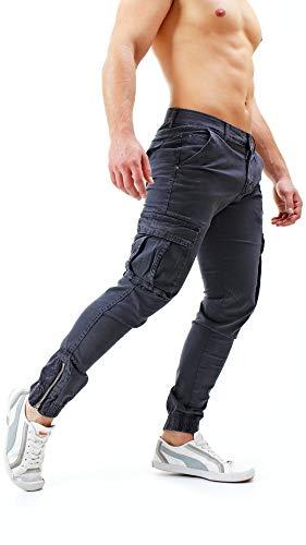 Pantaloni Uomo Cargo con Tasche Laterali Tasconi Jeans Slim Fit Elastico  alle Caviglie Militari Zip ( c9f6e94aff1