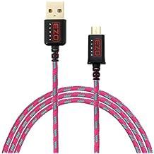 EZOPower Cavo di Micro-USB Extra Lungo (1.8 Metri/ 6 Ft) Ricoperto in Nylon intrecciato con Connettori Dorati che Può Sincronizzione e Ricarica Rapida per Samsung, Htc, Android, Sony ecc (Rosa Shocking/Verde)