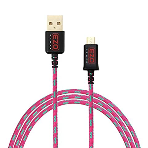 EZOPower Câble Chargeur et Synchronisseur Micro-USB tressé en Nylon, USB mâle vers Micro-USB mâle, Transfert des données, Sync, Synchronisation et Charge 1.8M – Rose/Vert