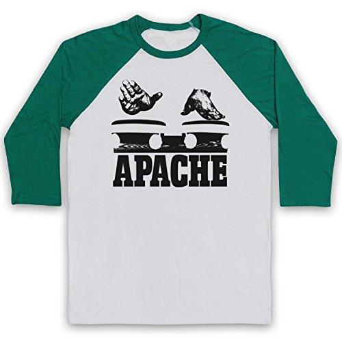 Inspired Apparel Inspiriert durch Incredible Bongo Band Apache Inoffiziell 3/4 Hulse Retro Baseball T-Shirt, Weiß & Grün, Large