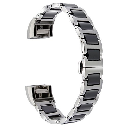 TRUMiRR Keramik & Edelstahl Uhrenarmband Butterfly Gürtelschnalle + Stecker für Fitbit Charge 2 Fitness Wristband, Fit Handgelenke kleiner als 9.1 ''