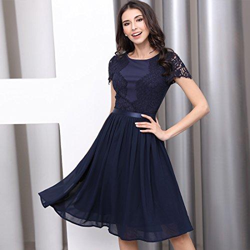 Miusol Abendkleid Sommer Chiffon festlich Kleid Cocktailkleid Vinatge kleider Rot - 6