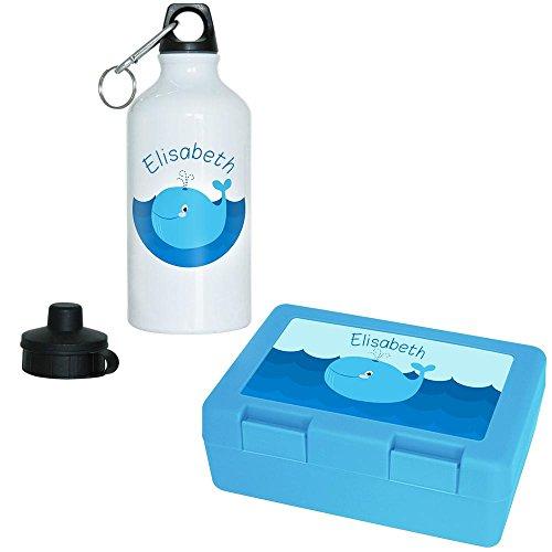 Elisabeth Fisch (Brotdose + Trinkflasche Set mit Namen Elisabeth und Motiv mit Blauwal für Mädchen | Aluminium-Trinkflasche | Lunchbox | Vesper-Box)