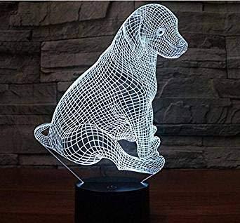 3d Illusion El perro Lámpara luces de la noche ajustable 7 colores LED 3d Creative Interruptor táctil estéreo visual atmósfera mesa regalo para Navidad