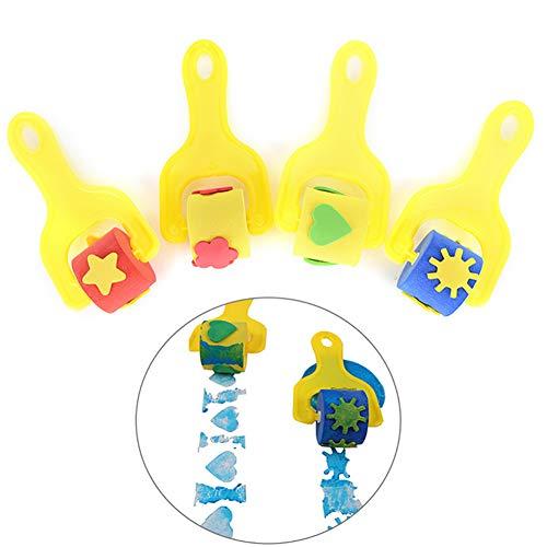 HIilai 4pcs Schwämme Pinsel Malwerkzeuge Kinder Spaß Pinsel Schwamm Finger Painting Zeichenwerkzeuge - Gelb - Finger, Pinsel