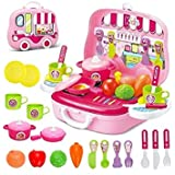 Toy Sports House Kitchen Food Playset, (Set Of 26 Pcs) Little Chef Set, Kitchen Cooking Pretend Set For Kids, Role Play Kitchen Set Toys For Kids With Wheel Carry Case