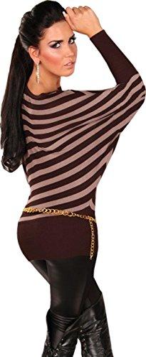 Instyle - Top à manches longues -  - Col ras du cou - Manches longues Femme Marron