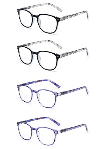 JM Lesebrille Satz von 4 Qualität Federscharnier Leser Damen Herren Brille Für Lesen +2.75 Grau & Blau