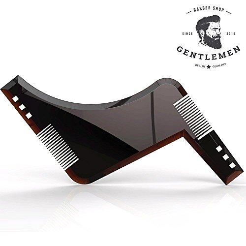 Bartschablone | Rasierhilfe | Bart Styling Tool | Schablone zum rasieren mit Anleitung: Symmetrischer Bart und Kontur oder Bartlinie | Rasur | Vorlage | Werkzeug | Bartkamm