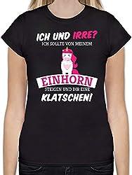 Einhörner - Ich und irre Einhorn - L - Schwarz - L191 - Tailliertes Tshirt für Damen und Frauen T-Shirt