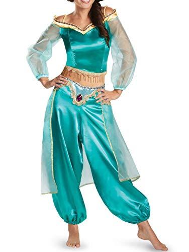 (CIPOPO Allah Lampe Jasmine Princess Cosplay Kostüm Set Damen Halloween Kostüm Karneval Fasching Kleid Cosplay Set Frauen Ägypten Bauchtanz Shows Tanzkleid Festliche Party Kostüm (BLAU, M))