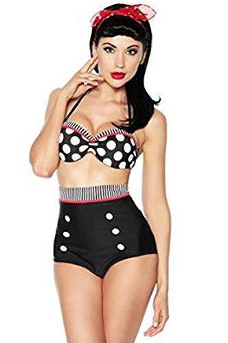Boolavard TM Vintage Push-up Bikini Retro Rockabilly Stil Schwarz/Rot/Weiß Größen: XL (40-42)