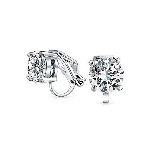 Bling Jewelry Solitaire CZ Agganciare Bridal Orecchini 8mm placcati in rodio