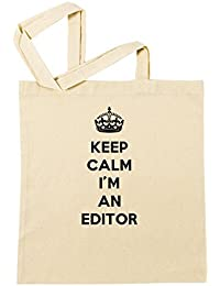 Keep Calm I'm An Editor Bolsa De Compras Playa De Algodón Reutilizable Shopping Bag Beach Reusable