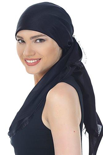 Réversible Foulards pour Perte de Cheveux, Cancer, Chimio Noir